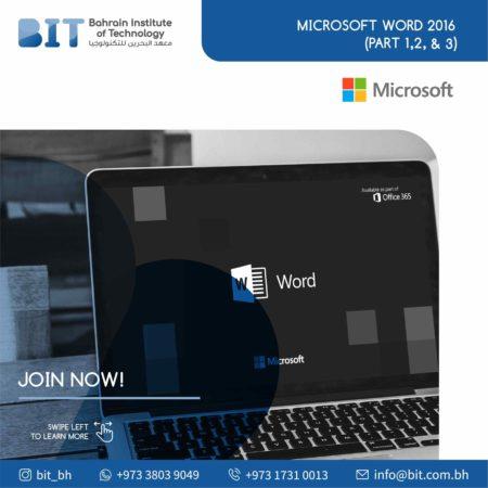 Microsoft Word 2016  (Part 1, 2 & 3)